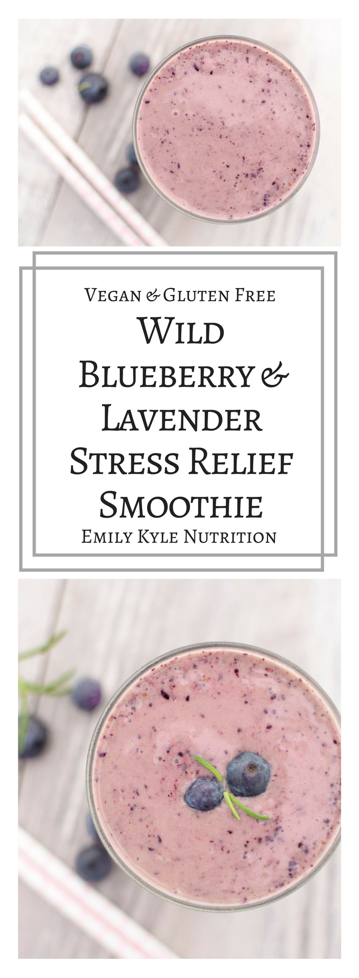 Take a moment to whip up this Wild Blueberry & Lavender Smoothie to enjoy a few minutes of stress relief from these amazing all natural, plant-based ingredients that will help to calm your mind, soothe your body, and relax your soul. | @EmKyleNutrition