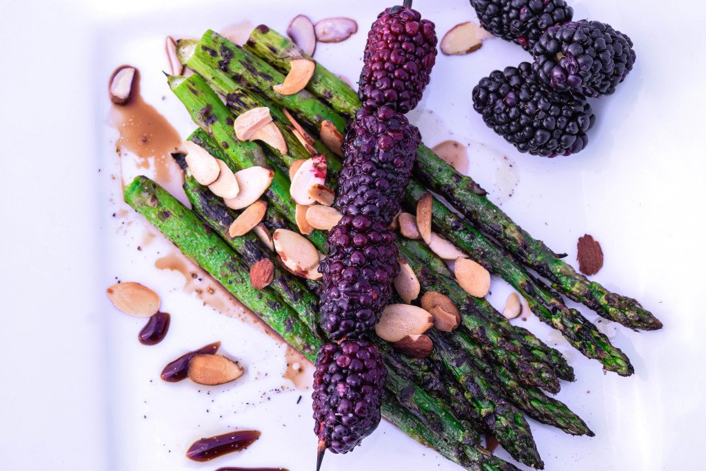 Balsamic Grilled Asparagus & Blackberries with Almonds by Emily Kyle Nutrition (101)