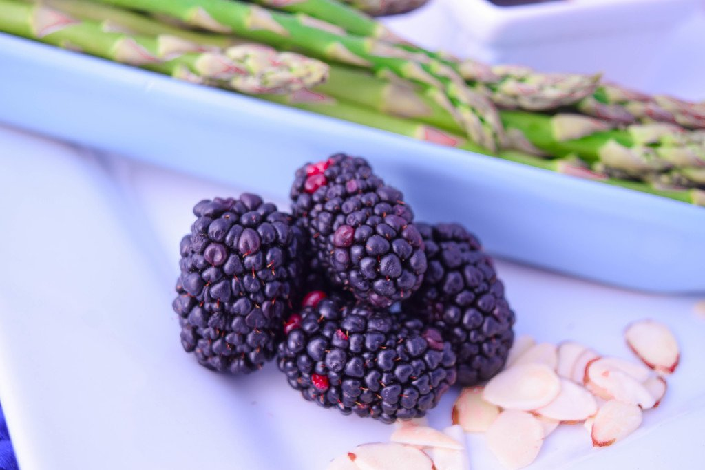 Balsamic Grilled Asparagus & Blackberries with Almonds by Emily Kyle Nutrition