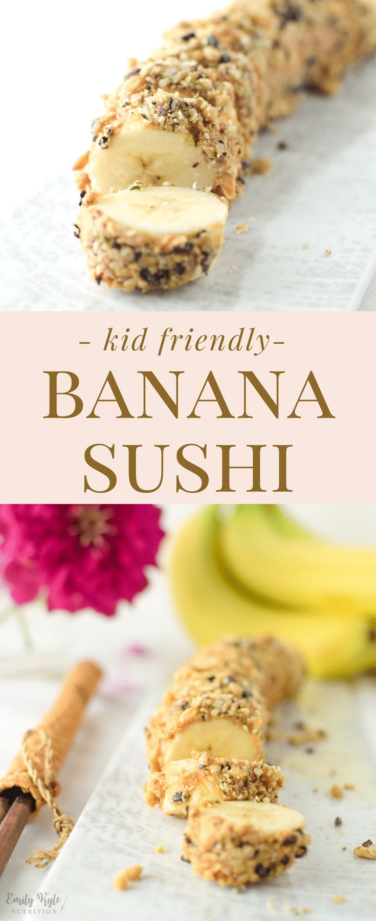 This easy Banana Sushi is a fun, kid friendly treat is a nutritious and delicious way to get your little one involved in the kitchen & learning how to cook.