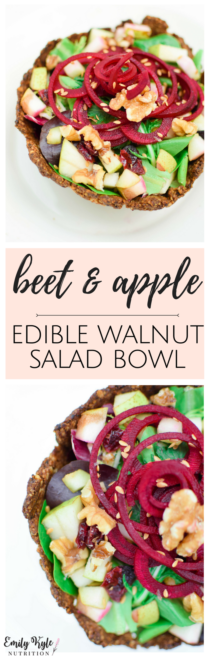 Enjoy a refreshing spiralized beet & apple salad inside a baked edible walnut salad bowl!