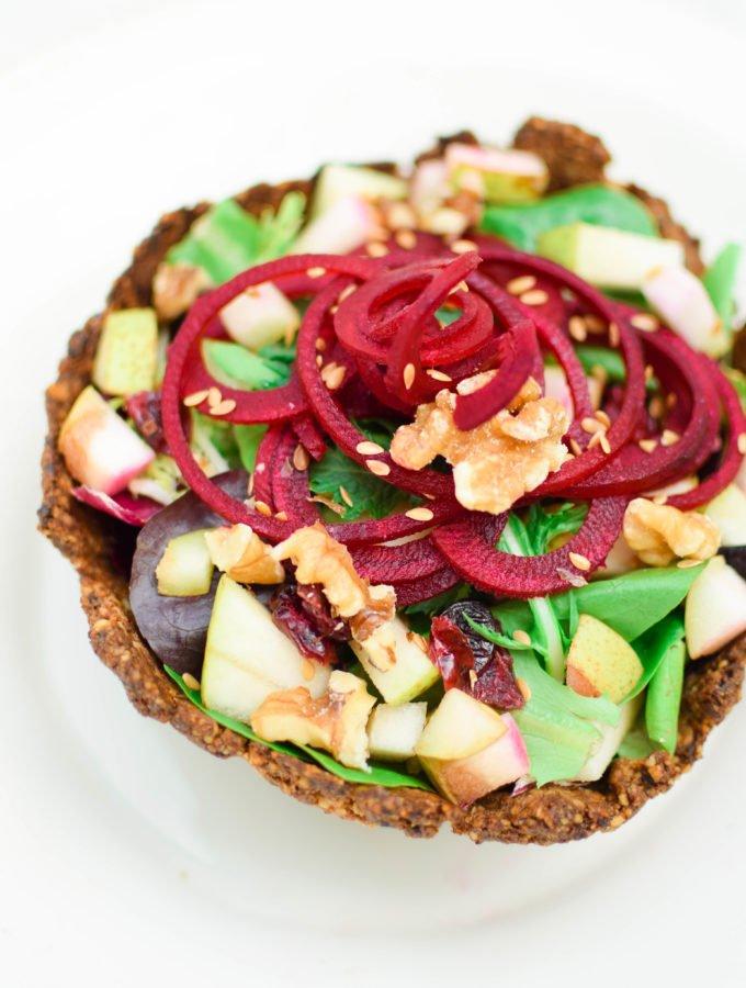 Beet & Apple Salad in an Edible Walnut Salad Bowl