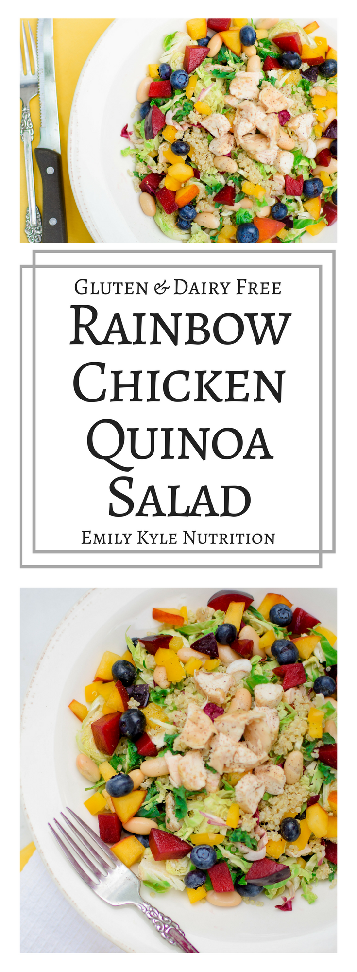 Brighten up your salad with this vibrant rainbow chicken quinoa salad that is made with good-for-you ingredients like fruit, vegetables, quinoa and lean chicken. | @EmKyleNutrition