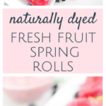 A unique twist on the classic spring roll, these Pink Fresh Fruit Spring Rolls paired with a Strawberry Mint Dip are a sweet treat that is naturally dyed, with no added sugar, naturally vegan and gluten-free!