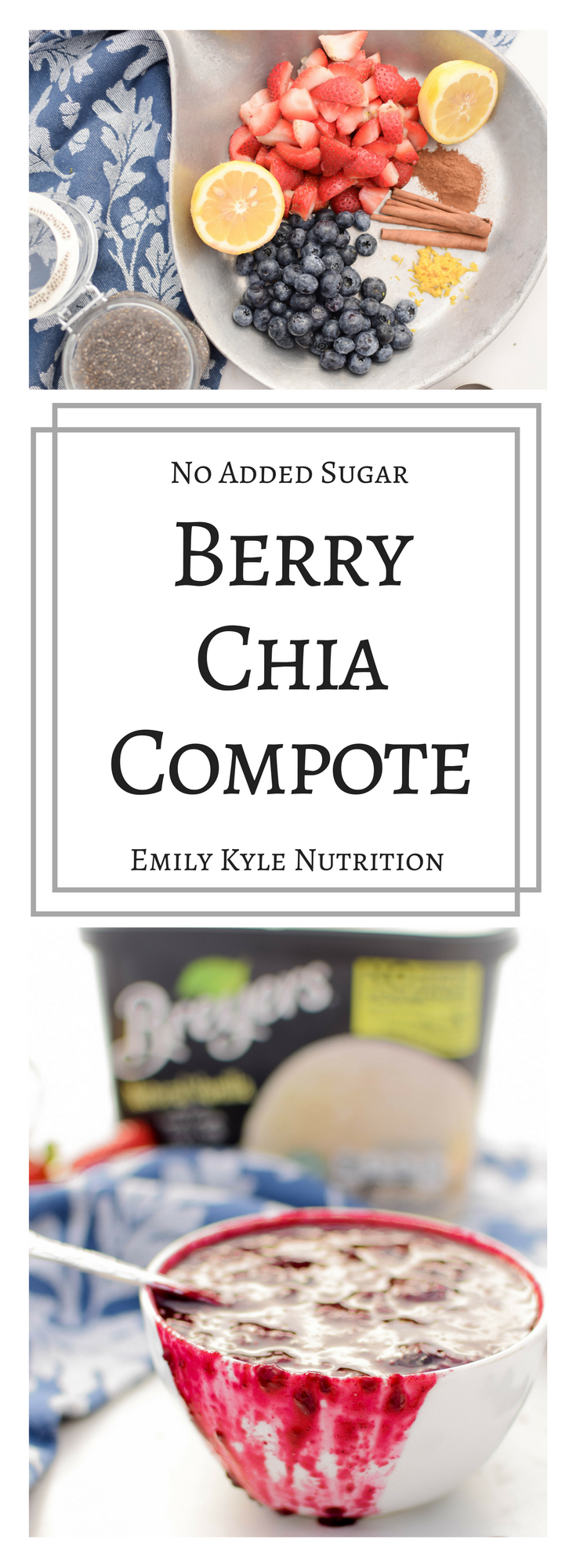 Make your own no-added sugar Berry Chia Compote with just a few simple ingredients to enjoy with all of your favorite teats like yogurt, oatmeal, or ice cream! | #proundpartner of Breyers Natural Vanilla Ice Cream