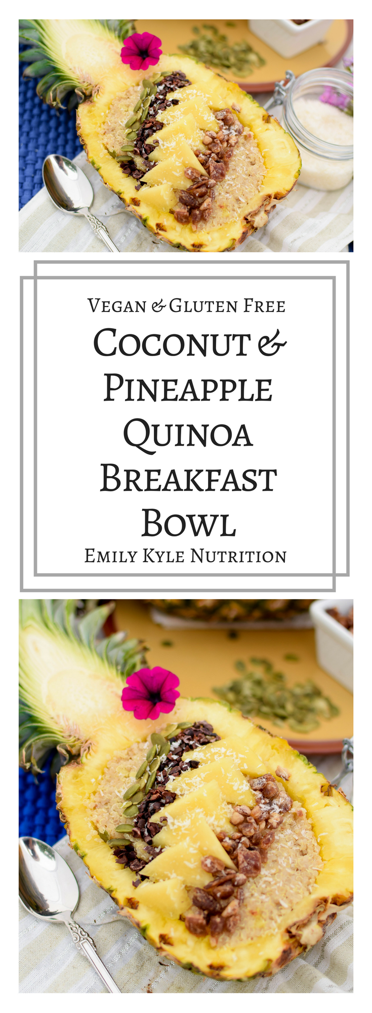 Enjoy a high protein, plant-based Coconut Pineapple Quinoa Breakfast Bowl all week long with an easy, meal-prep option as well!