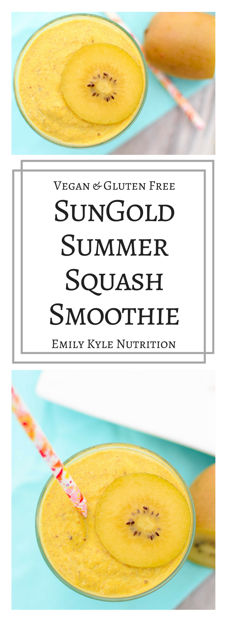 Use up those summer squash with this creamy and delicious naturally vegan and gluten free SunGold Summer Squash Smoothie #sponsored by Zespri KiwiFruit | @EmKyleNutrition @ZespriKiwiFruit