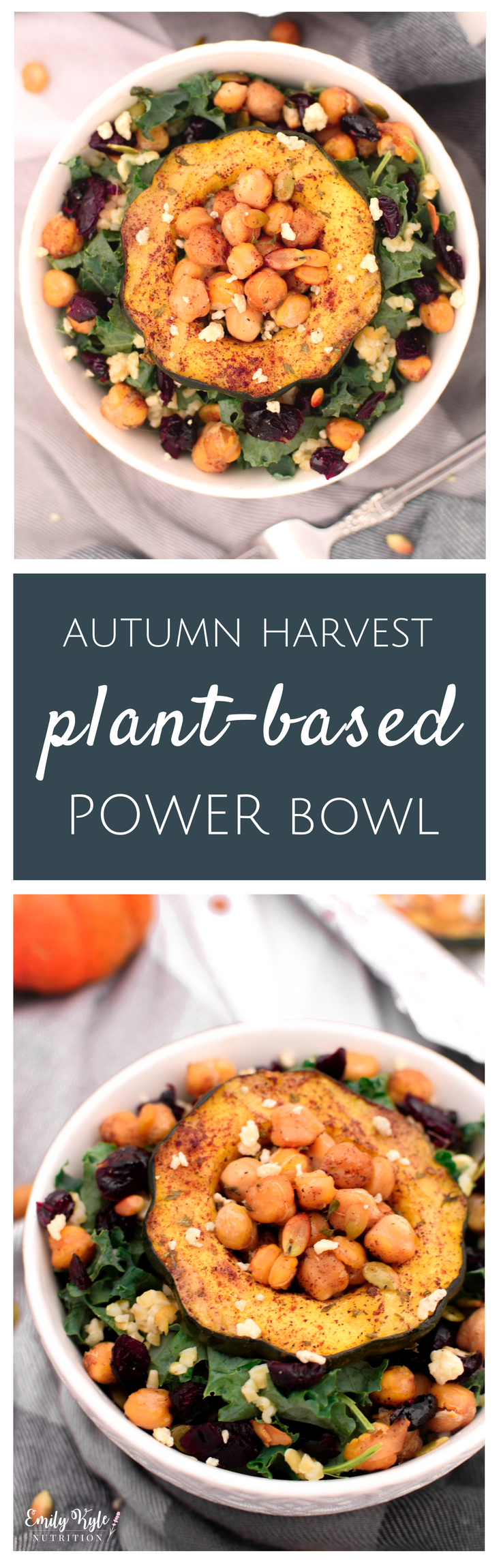 Savor all of your favorite fall flavors with this nutrient dense Autumn Harvest Plant-Based Protein Power Bowl from Emily Kyle Nutrition