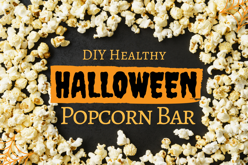Learn how to make your own Healthy Halloween Popcorn Bar with 10 healthy dietitian approved toppings.