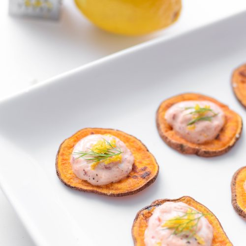 You'll be the star of the party when you show up with this mouthwatering Lemon & Chili Sweet Potato Toast appetizer that uses only 4 ingredients and is ready in less than 30 minutes!