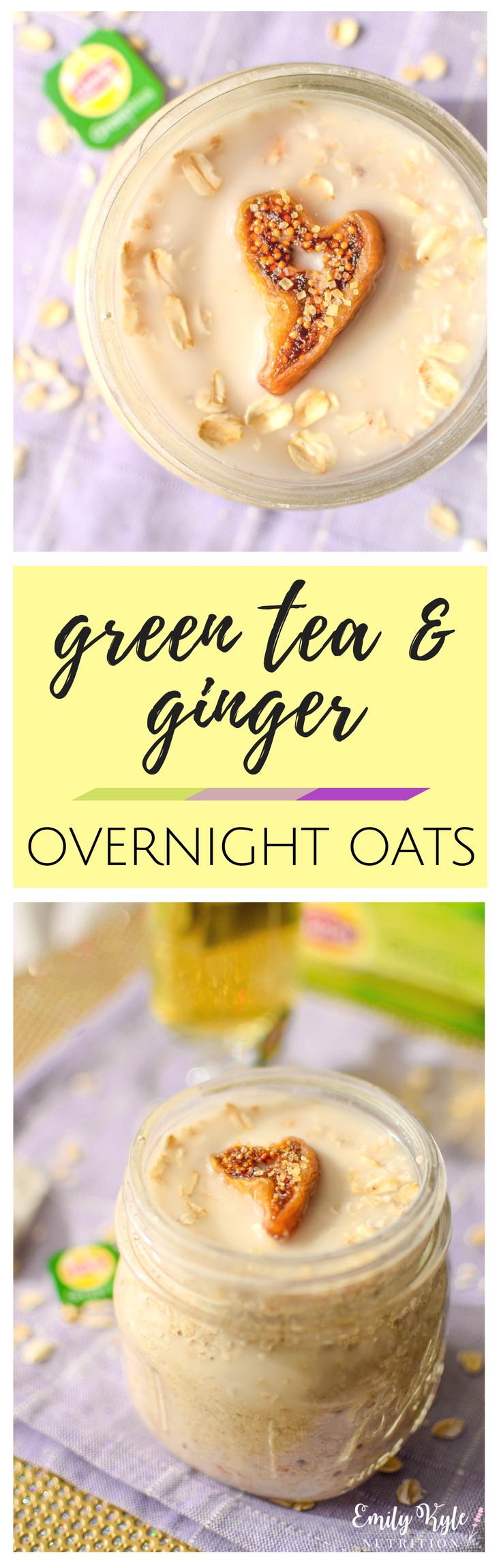 This Lipton® Green Tea & Ginger Overnight Oats recipe takes just 5 minutes to prepare so that you can have a nutritious and delicious breakfast ready to run out the door with you on those busy mornings! #ad