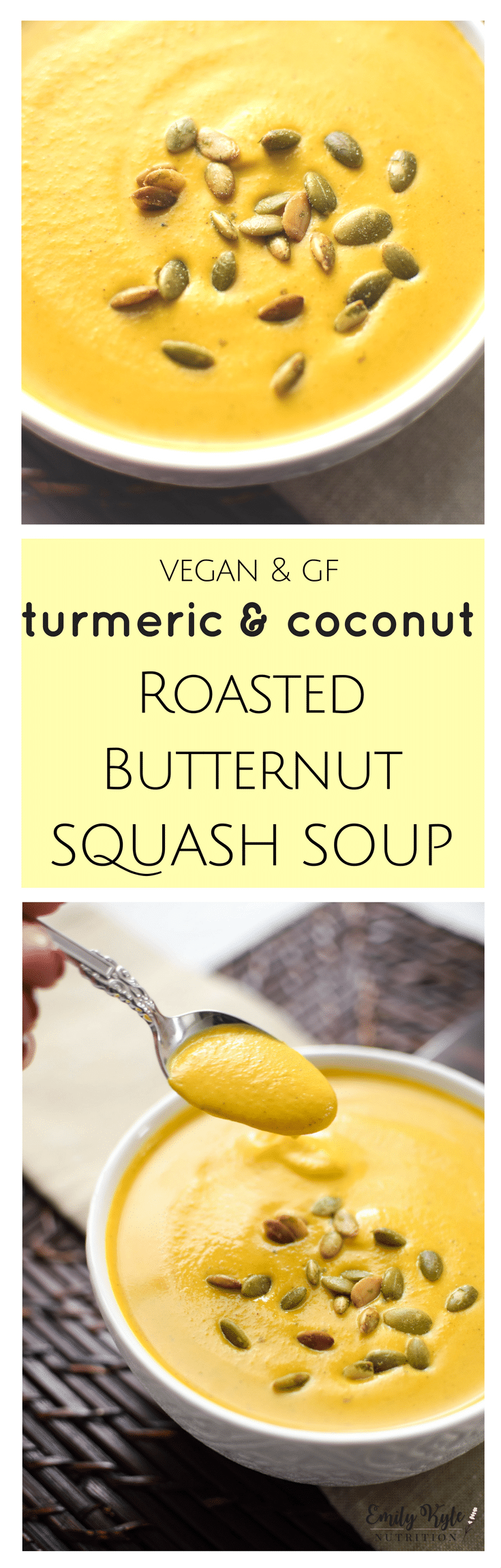 This smooth and creamy, vegan & gluten-free Turmeric & Coconut Roasted Butternut Squash Bisque is an antioxidant packed, anti-inflammatory one pot wonder the whole family will love!