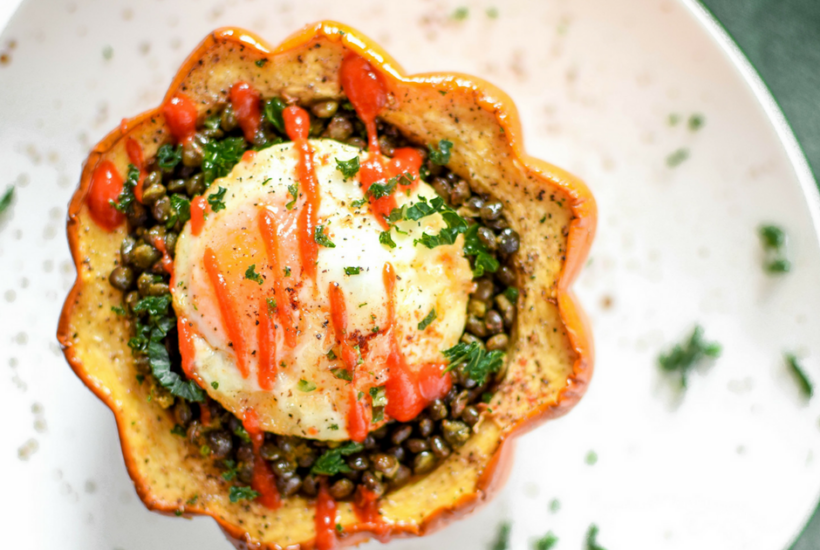 Enjoy this delicious Acorn Squash & Lentil Egg Bake - a nutrient packed, high protein, high fiber budget friendly recipe that costs just $1.71 per serving!