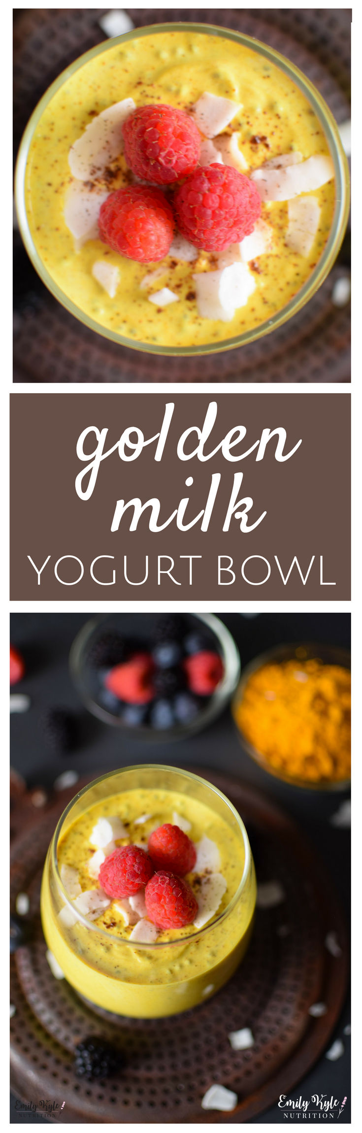 Enjoy the amazing anti-inflammatory health benefits of Turmeric in this high protein, easy-to-make Turmeric Golden Milk Yogurt Bowl!