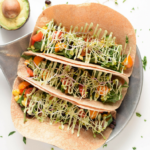 Vegetarian Hummus Tacos with Avocado Cream