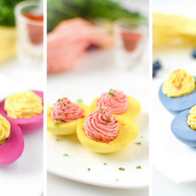 Naturally Dyed Deviled Eggs by Emily Kyle Nutrition