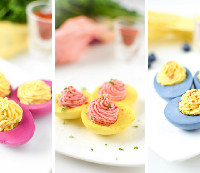 Naturally Dyed Deviled Eggs