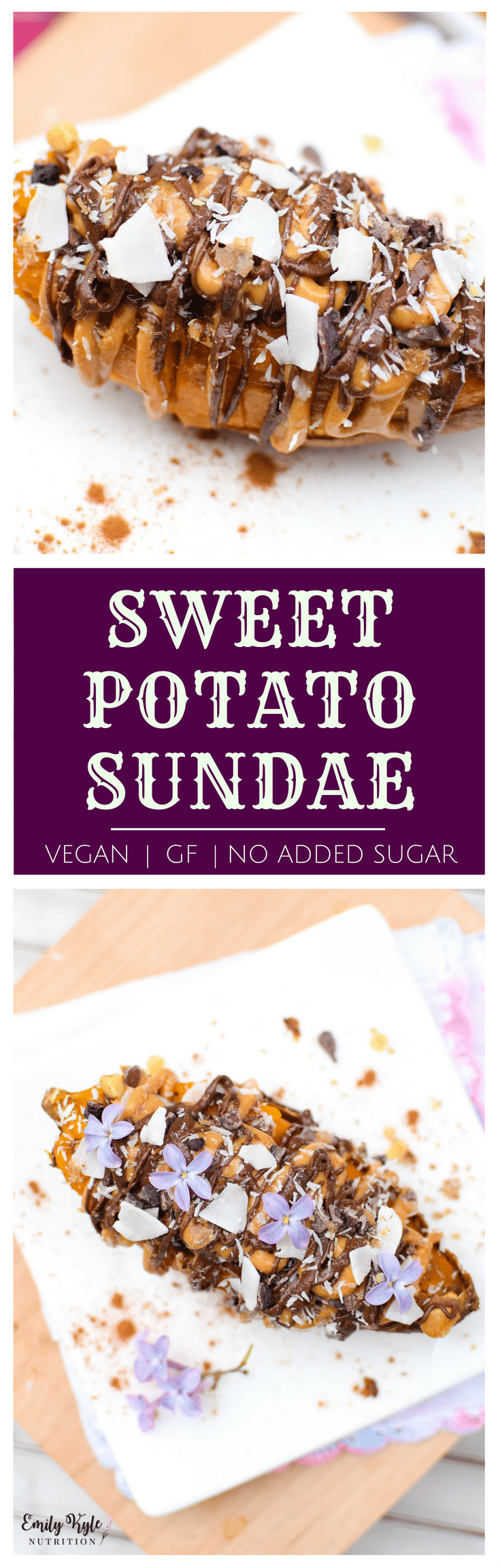 This Peanut Butter Stuffed Sweet Potato Sundae is a no-added sugar, naturally vegan & gluten free treat that will leave even the sweetest sweet tooth satisfied!