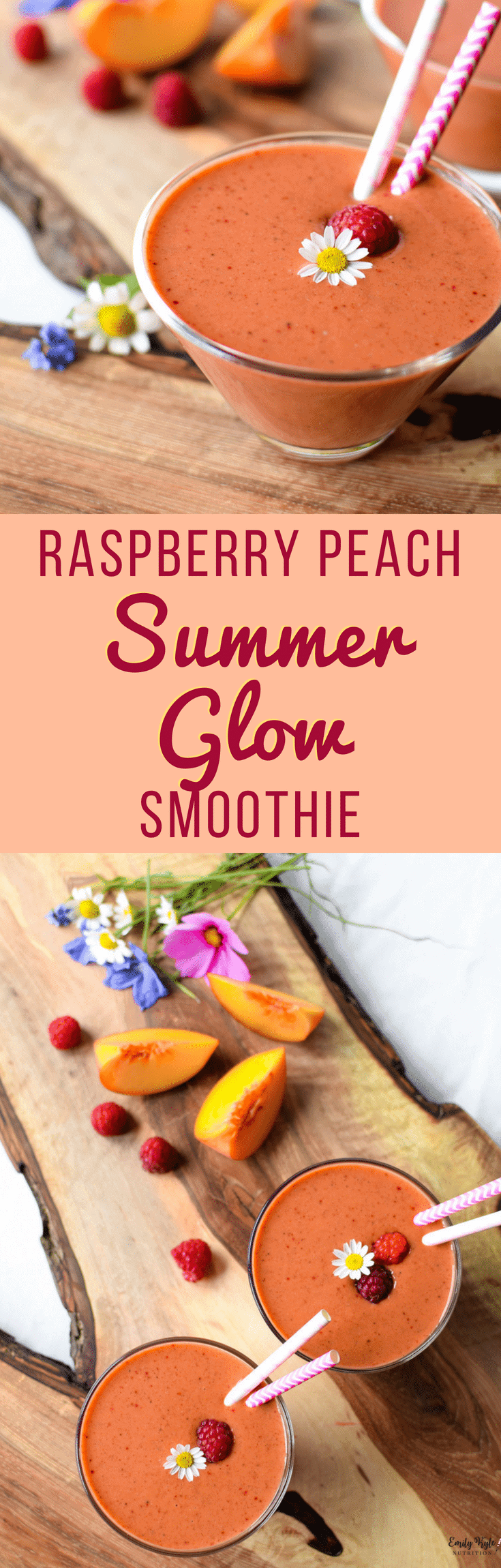 Nourish your body with summers most delicious fresh fruit in this easy to make Raspberry Peach Summer Glow Smoothie!