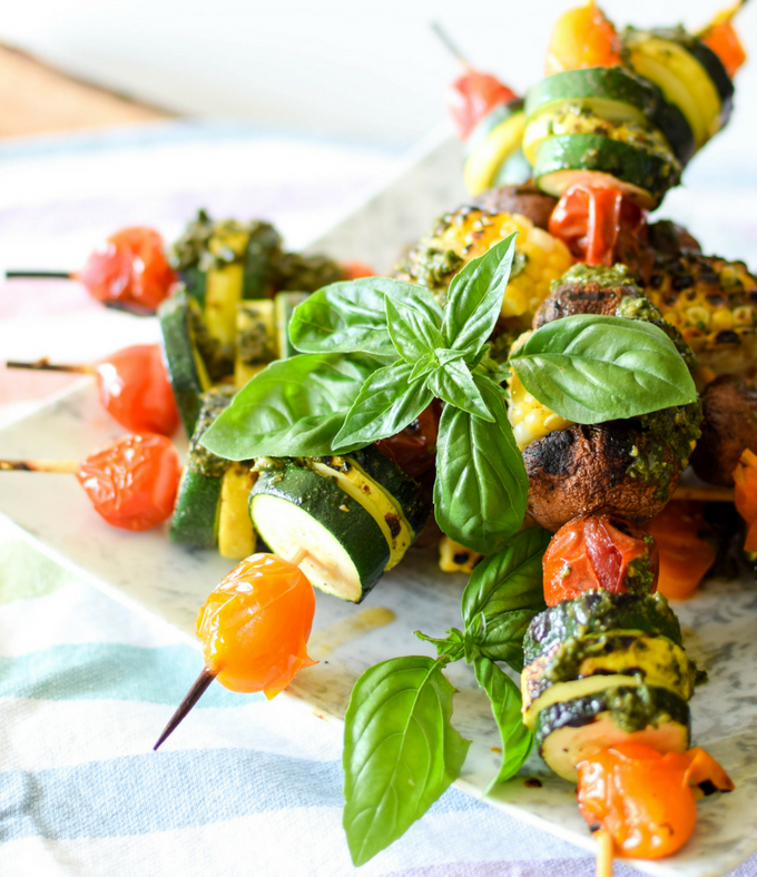 Garden Harvest Veggie Pesto Skewers