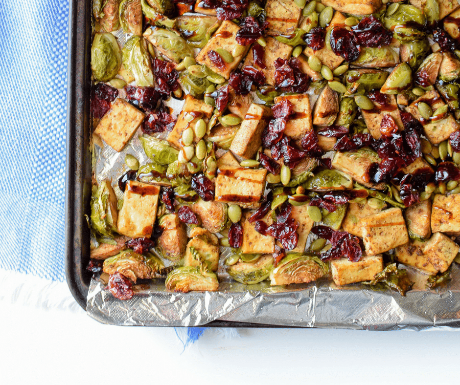 Sheet Pan Garlic Tofu & Brussels Sprouts Dinner by Emily Kyle Nutrition