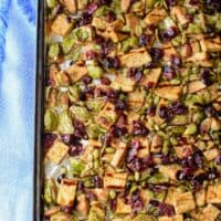Sheet Pan Garlic Tofu & Brussels Sprout Dinner
