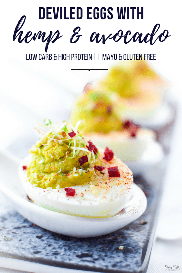 Hate mayo? Try a unique twist with these Hemp & Avocado Deviled Eggs that are a high protein snack inspired by the Generations of Love & Food Cookbook. #avocado #deviledeggs #highprotein #lowcarb