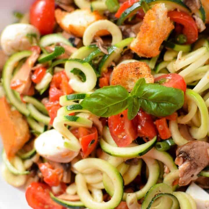 Fresh Zucchini Panzanella Salad by Emily Kyle Nutrition
