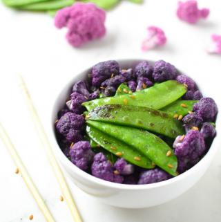 Sesame Snow Peas & Purple Cauliflower Emily Kyle Nutrition