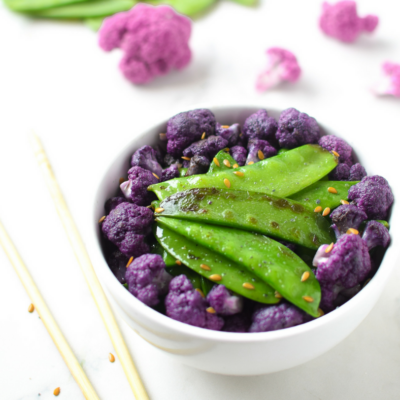 Sesame Snow Peas & Purple Cauliflower Stir Fry
