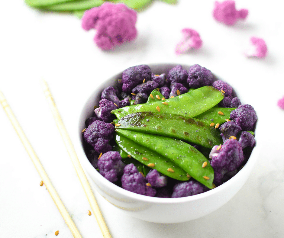 Sesame Snow Peas & Purple Cauliflower Emily Kyle Nutrition