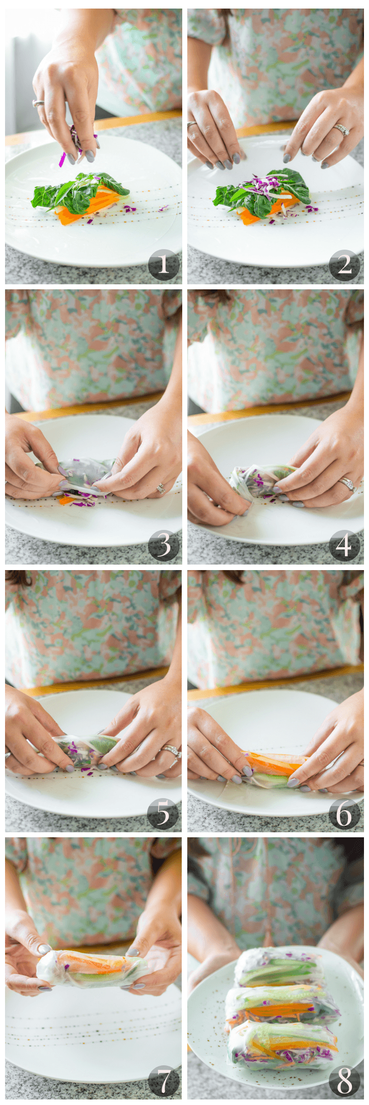 Step by Step Guide to Rolling Fresh Spring Rolls by Emily Kyle Nutrition Tutorial