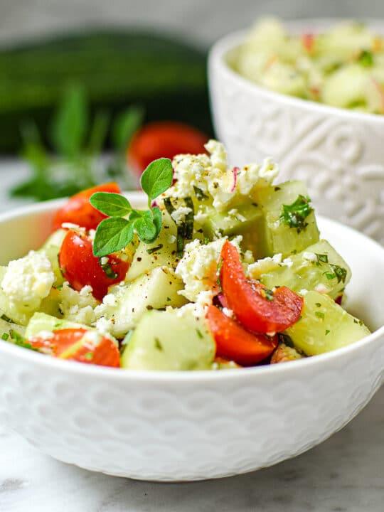 Garden Fresh Greek Cucumber Salad by Emily Kyle Nutrition