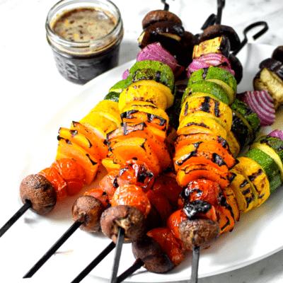 Rainbow Grilled Vegan Veggie Kebabs