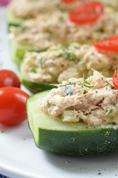 Tuna Salad Cucumber Boats