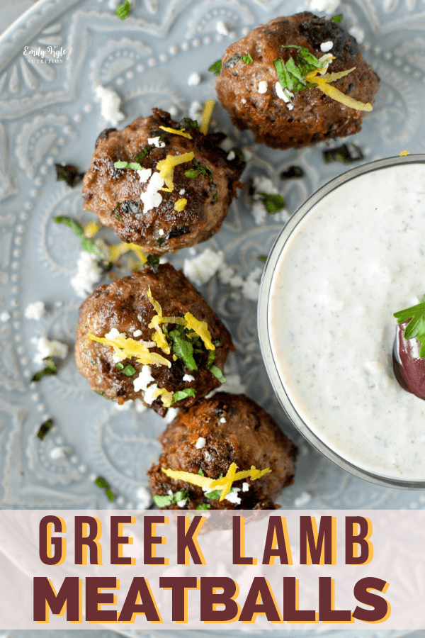 Made with the Mediterranean flavors of kalamata olives, fresh herbs, and nutritious lamb, these Greek Lamb Meatballs are the perfect dairy-free, gluten-free, high-protein snack, appetizer or main course. #Lamb #GlutenFree #DairyFree