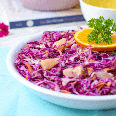 Red Cabbage Pineapple Coleslaw (Vegan, Paleo, AIP)