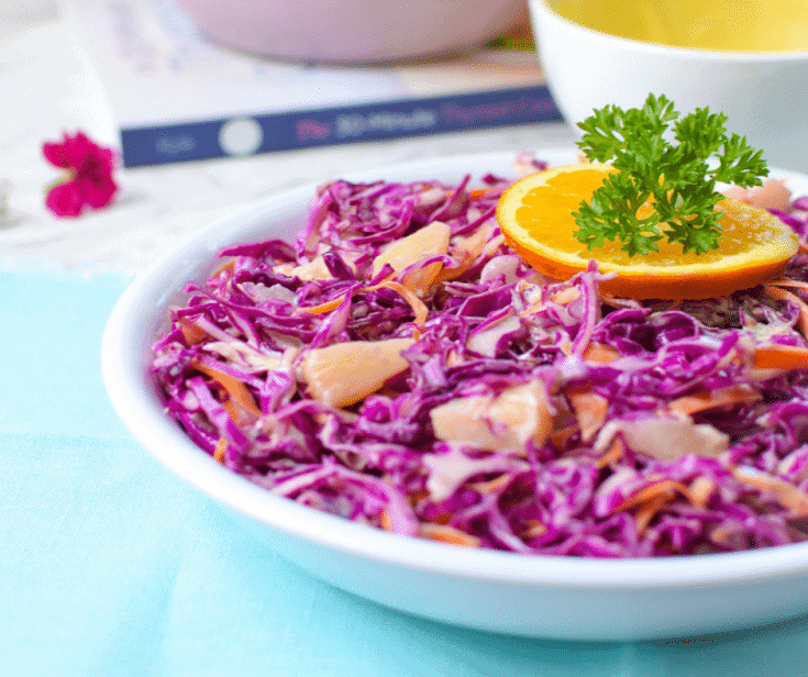 Purple Cabbage Pineapple Coleslaw - Dairy Free