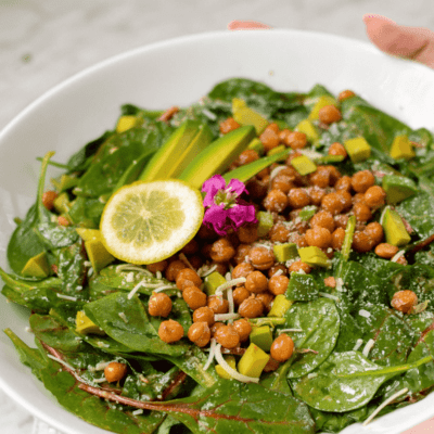 Lemony Kale, Spinach, and Avocado Salad with Salty Roasted Chickpeas by Emily Kyle Nutrition