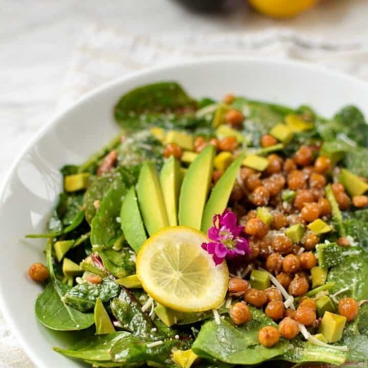 Lemony Kale, Spinach, and Avocado Salad with Salty Roasted Chickpeas