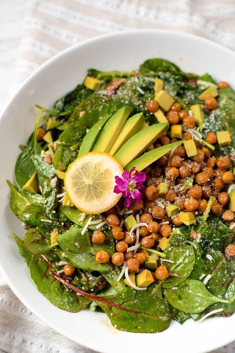 Chickpea Spinach Salad with Cannabis Lemon Vinaigrette