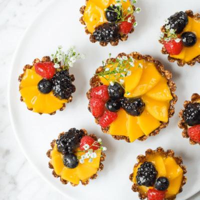 Festive Mini-Mango Fruit Tart (Vegan, Gluten-Free)