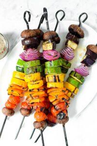 Rainbow Grilled Vegan Veggie Kebabs by Emily Kyle Nutrition