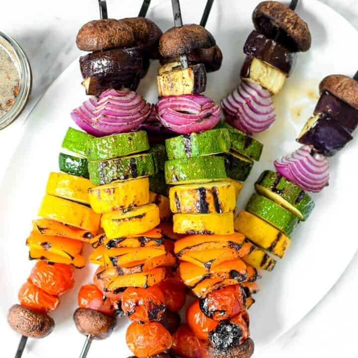 Rainbow Grilled Vegan Veggie Kabobs