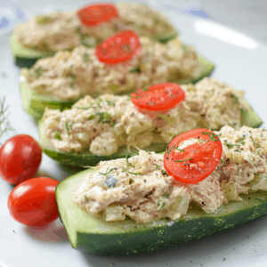 Tuna Salad Cucumber Boat Featured