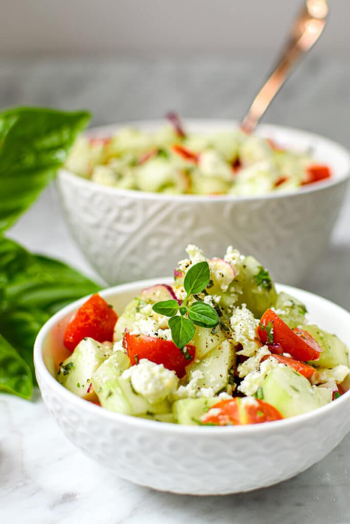 Garden Fresh Greek Cucumber Salad by Emily Kyle Nutrition
