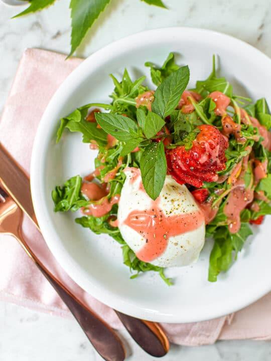 CBD Vinaigrette with Strawberry Burrata Salad