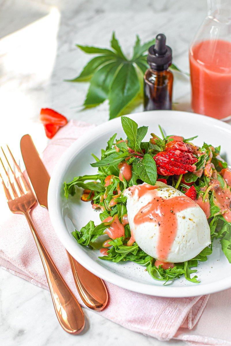 Cannabis Strawberry Vinaigrette with Burrata Salad