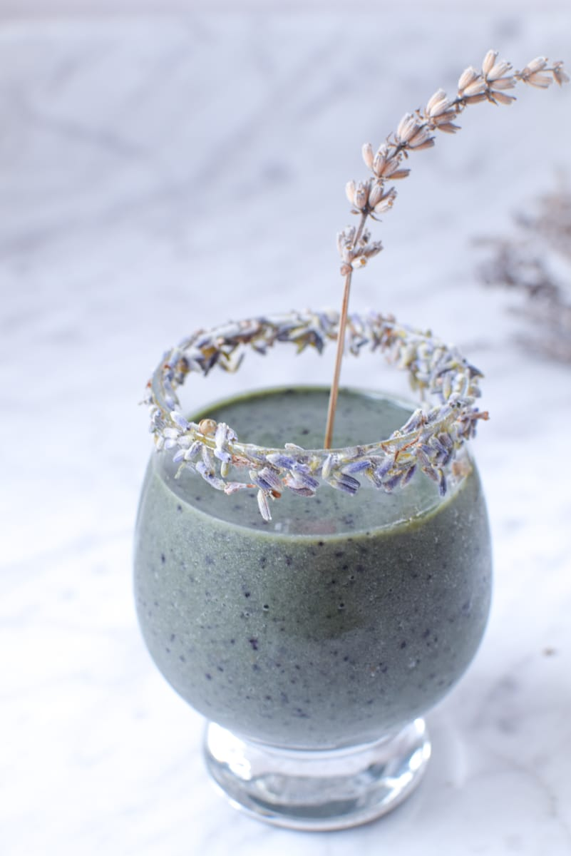 CBD Blueberry Lavender Anti-Anxiety Smoothie by Emily Kyle Nutrition