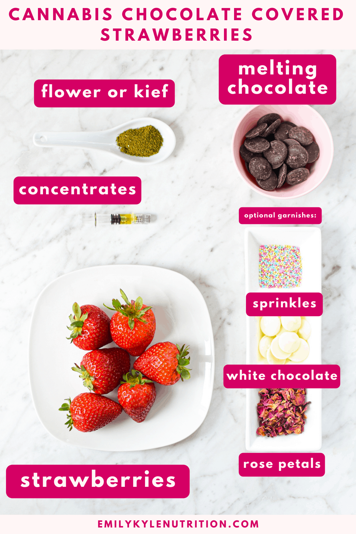 A white countertop with all of the ingredients needed to make cannabis chocolate covered strawberries including strawberries, chocolate, cannabis, cannabis concentrates, melting chocolates, sprinkles and rose petals